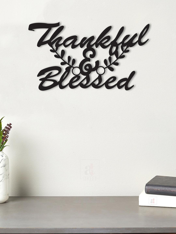 Art Street Black Thankful   Blessed Wooden Wall Decor