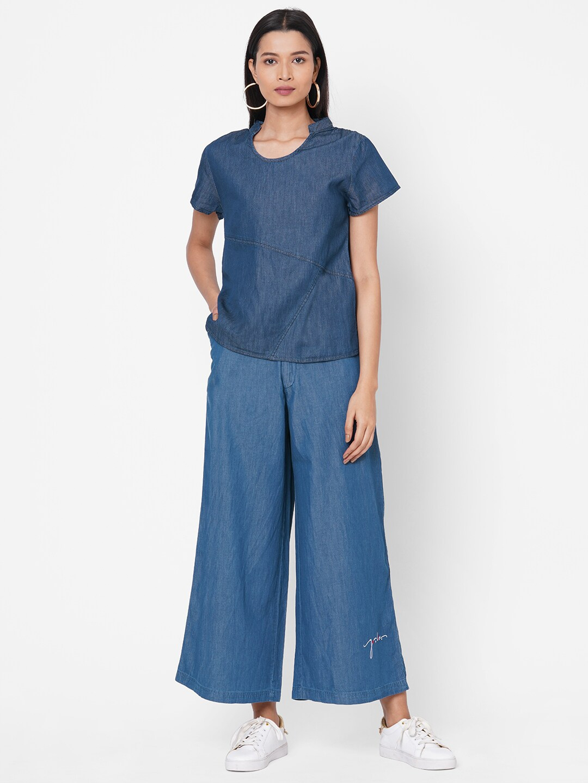 ZOLA Women Blue Solid Half Sleeves Denim Co ordinated Set