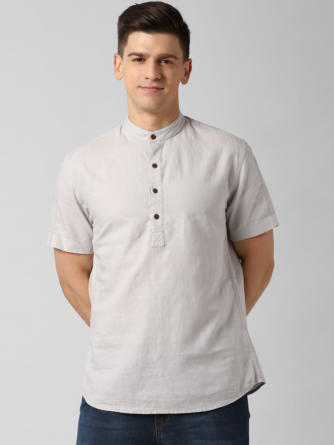 Peter England Casuals Men Grey Slim Fit Solid Casual Shirt