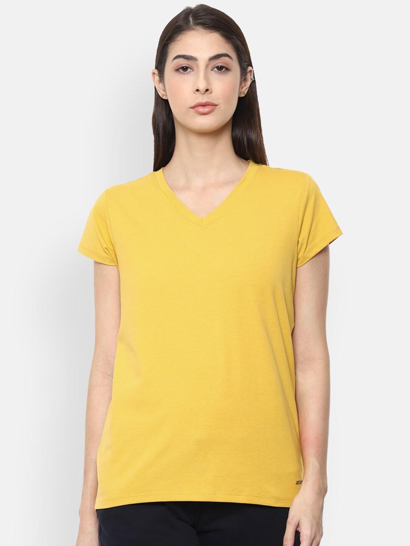 Van Heusen Woman Women Yellow Solid V Neck T shirt