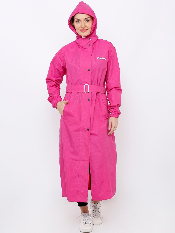 Zeel Women Pink Solid Full Length Rain Jacket
