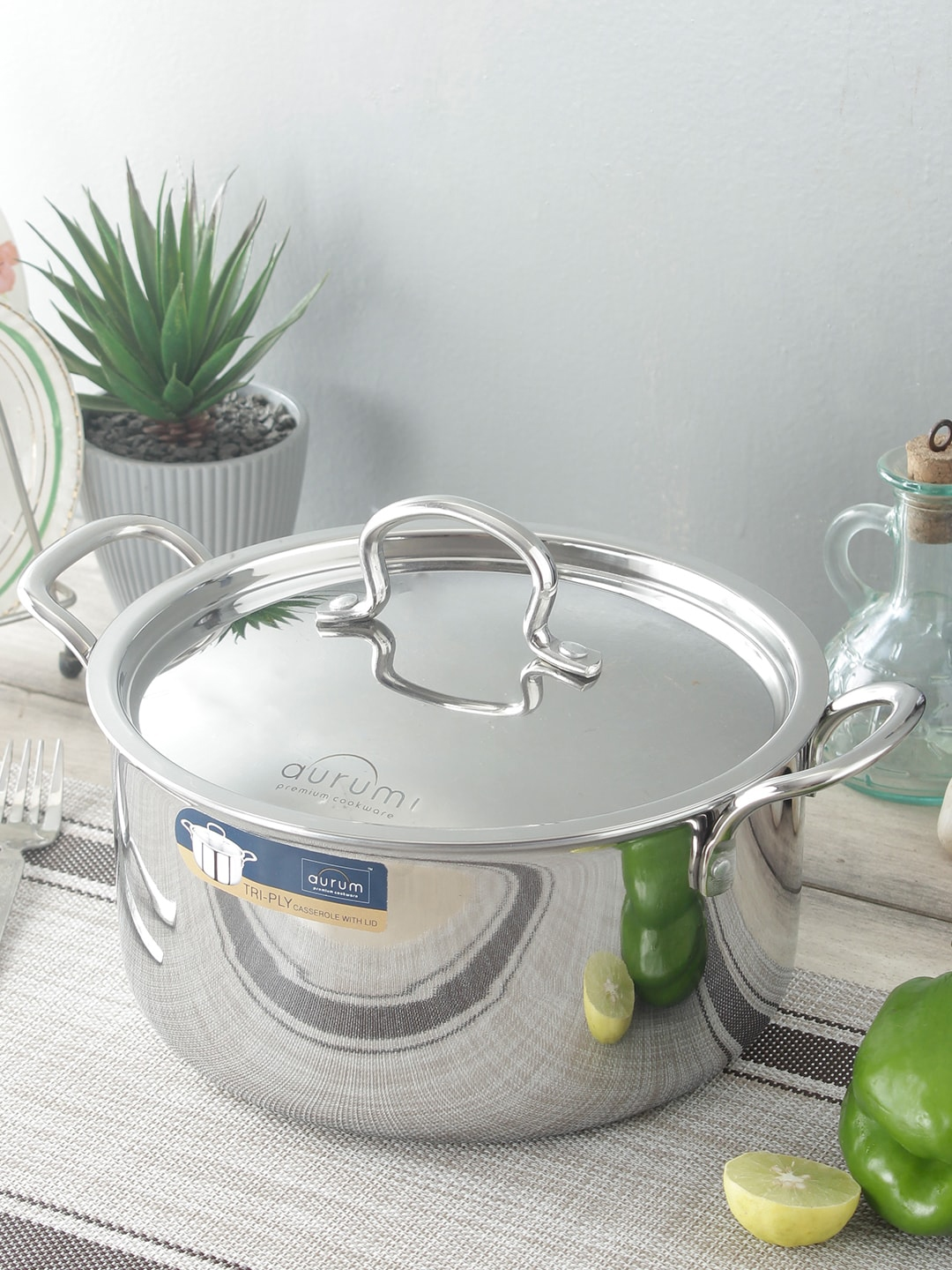 Aurum Triply Casserole With Stainless Steel Lid