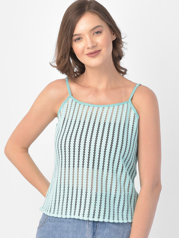Eavan Sea Green Striped Lace Regular Top