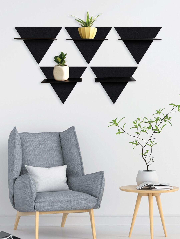 RANDOM Set of 5 Black Wall Hanging Laminated MDF Wooden Wall Shelves