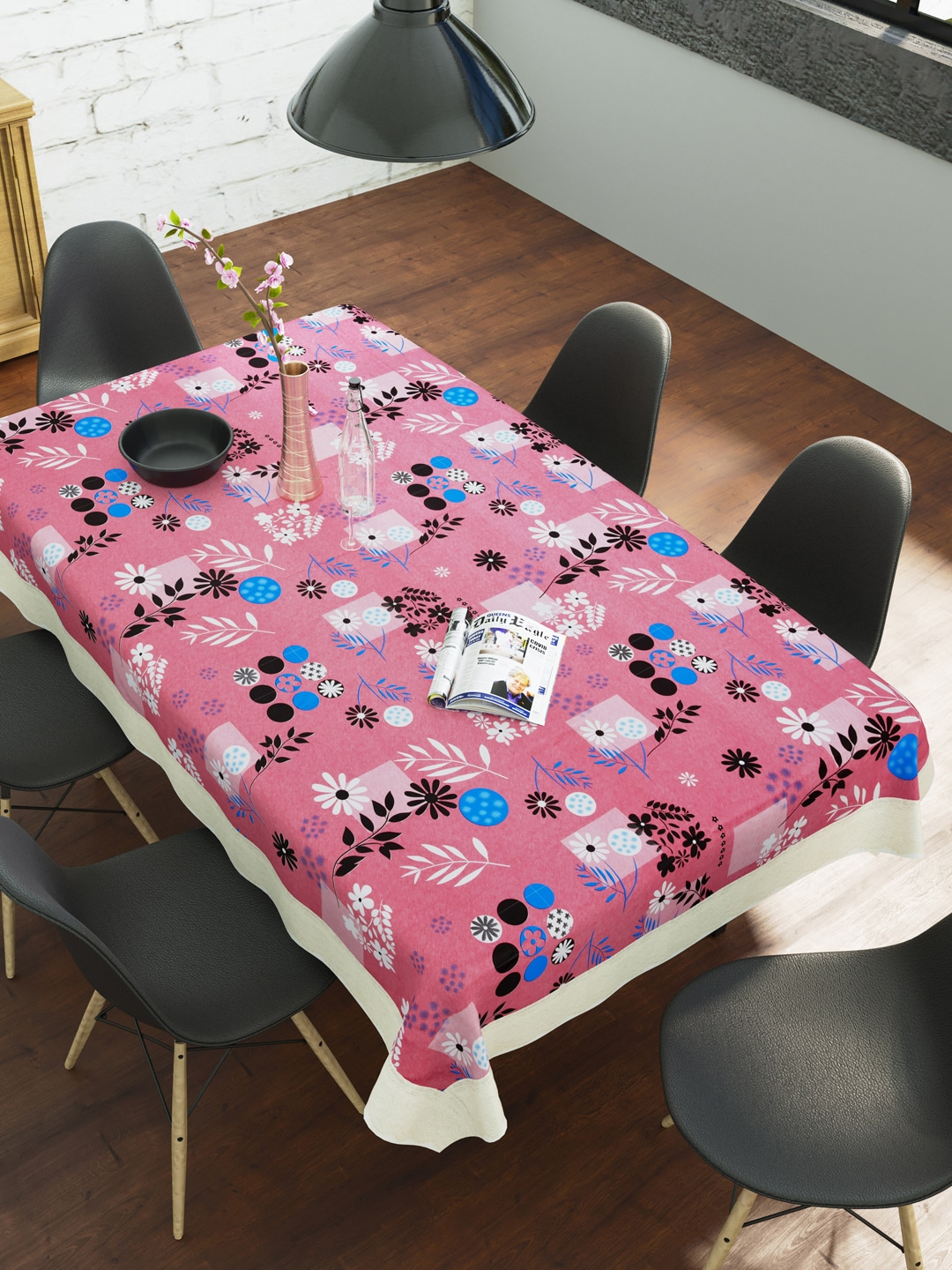 Clasiko Pink   Black Floral Printed 6 Seater Table Cover