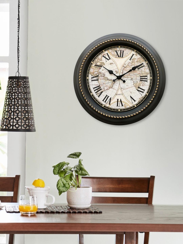 Home Centre Black   Gold Printed Corsica Contemporary Wall Clock 40 cm