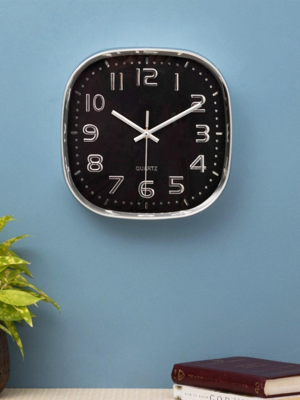 Home Centre Black   Silver Contemporary Estelle Telsa Wall Clock 25 cm