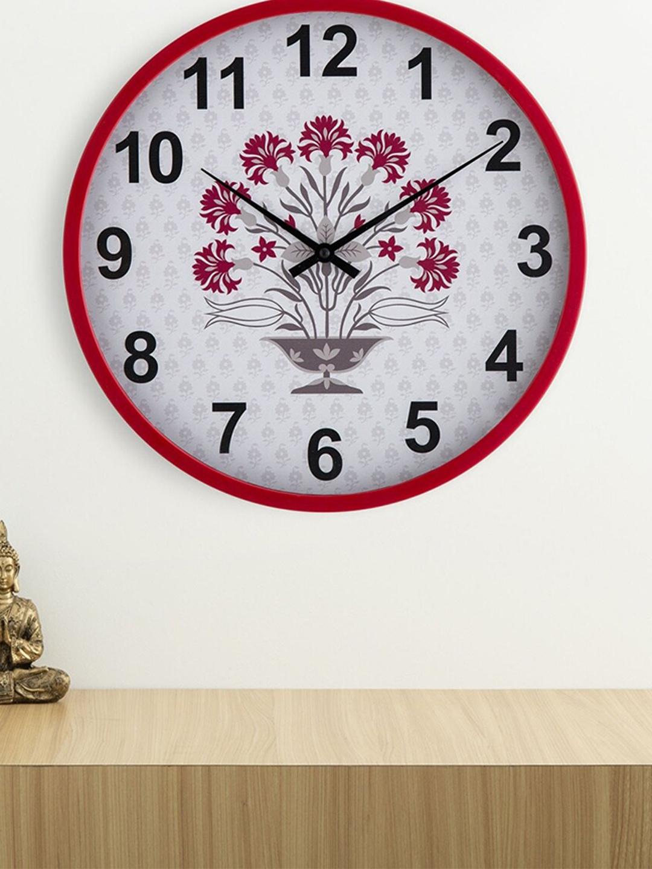 Home Centre Red   White Casablanca Arda Floral Printed Vintage Wall Clock 35 cm