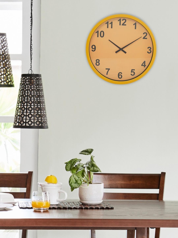 Home Centre Yellow   Black Contemporary 32 cm Analogue Wall Clock