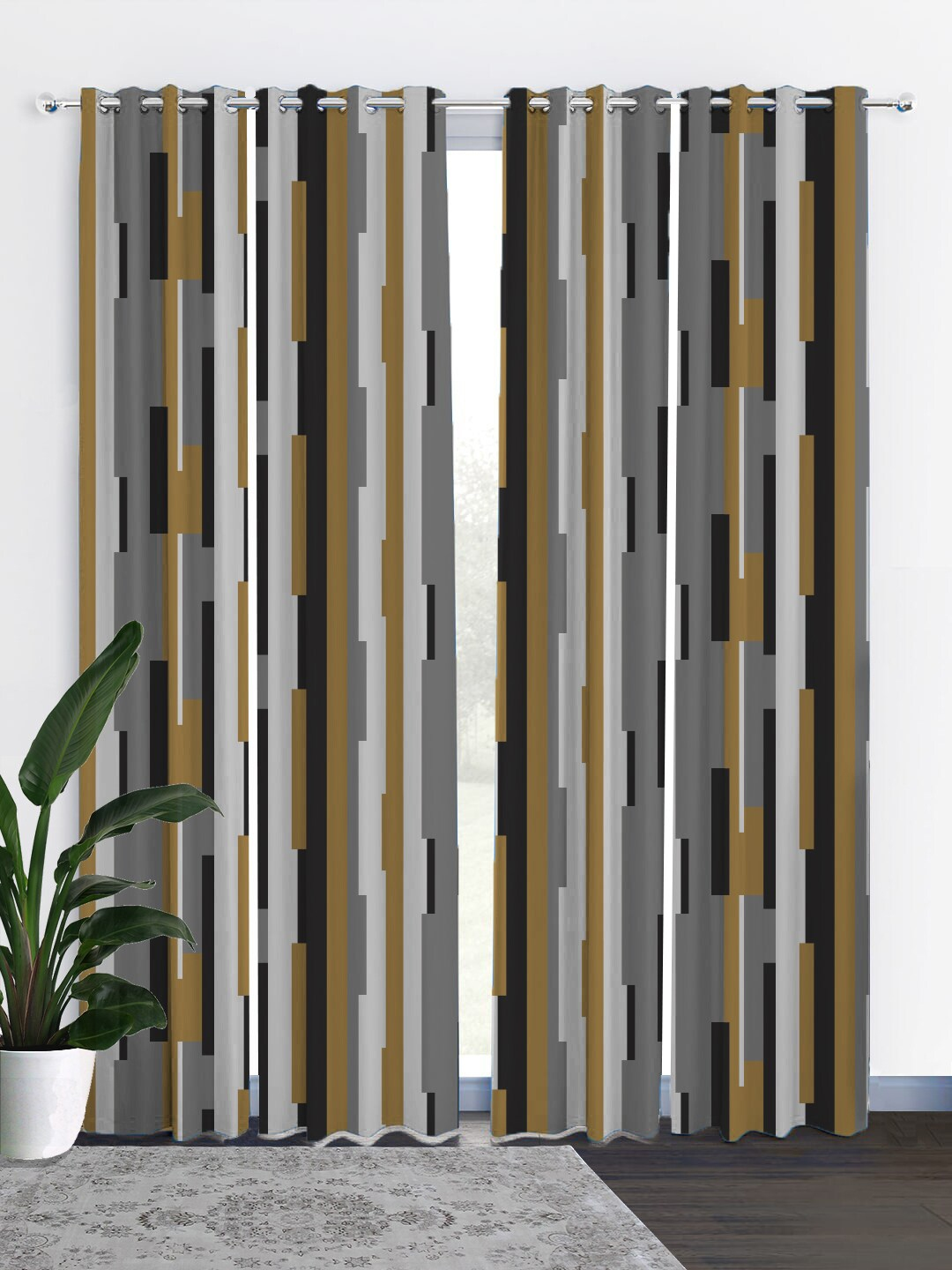 HOUZZCODE Black   Grey Set of 4 Black Out Long Curtains