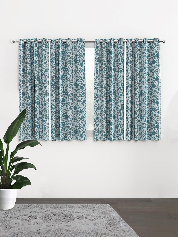 HOUZZCODE Grey   Blue Set of 4 Curtains