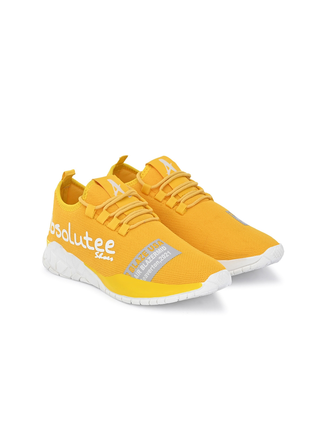 Absolutee Shoes Men Yellow Mesh Running Shoes