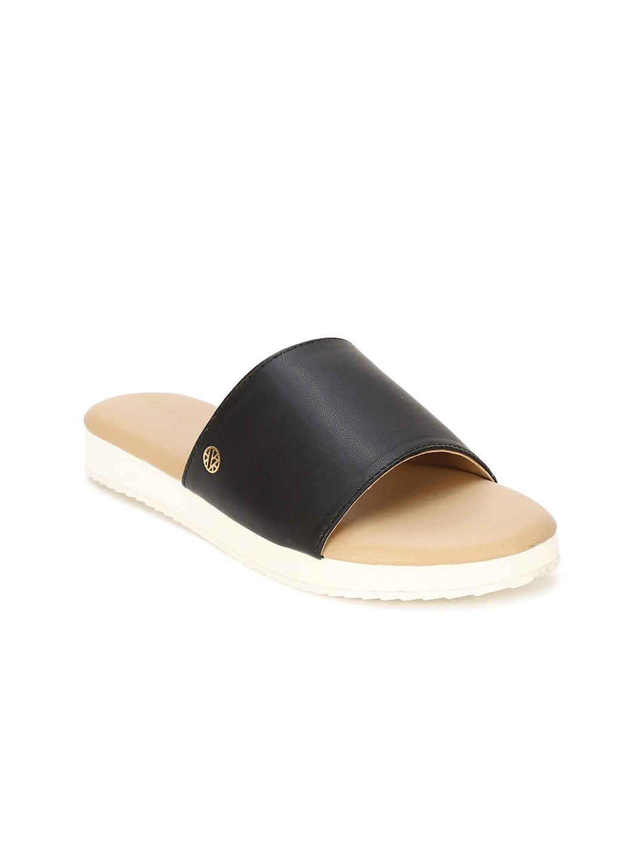Van Heusen Woman Black Solid Open Toe Flats