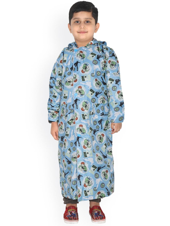 FabSeasons Kids Blue   Green Ben10 Printed Waterproof Longline Rain Jacket