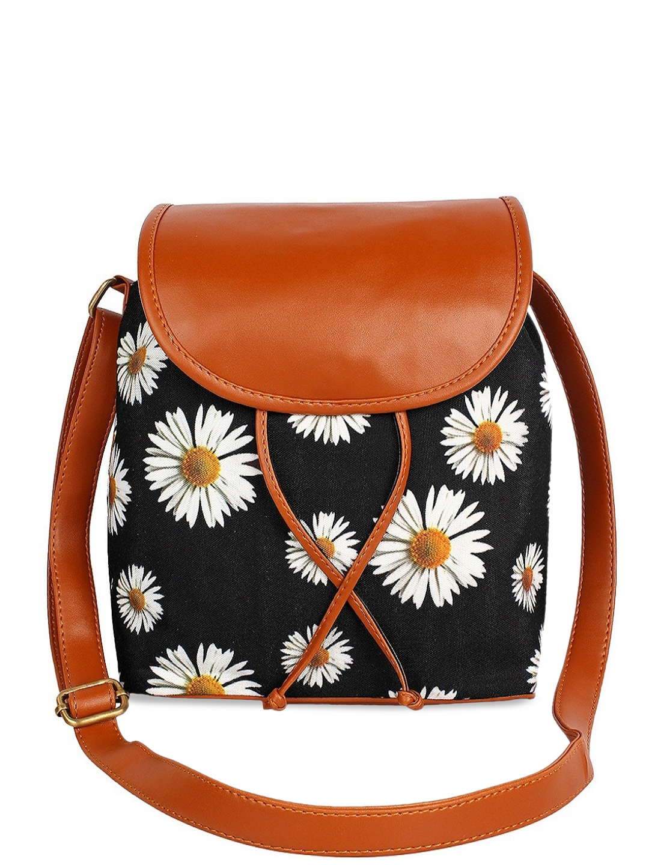 Lychee bags Black Floral Printed Structured Handheld Bag with Tasselled