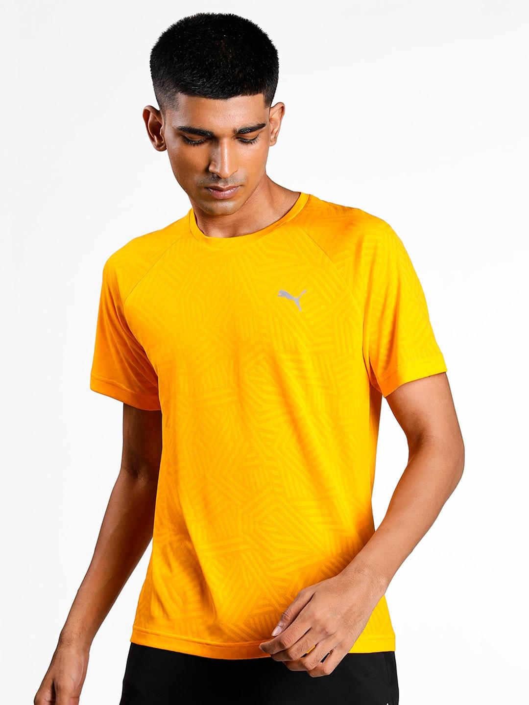 Puma Men Yellow one8 Virat Kohli Jacquard Slim T Shirt