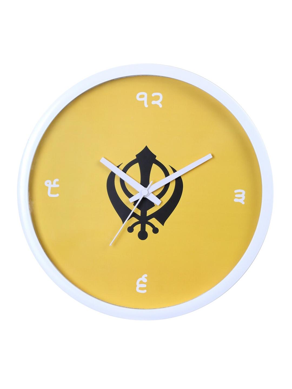 Bodh Design Yellow   White Printed Contemporary 28 Cm Analogue Wall Clock