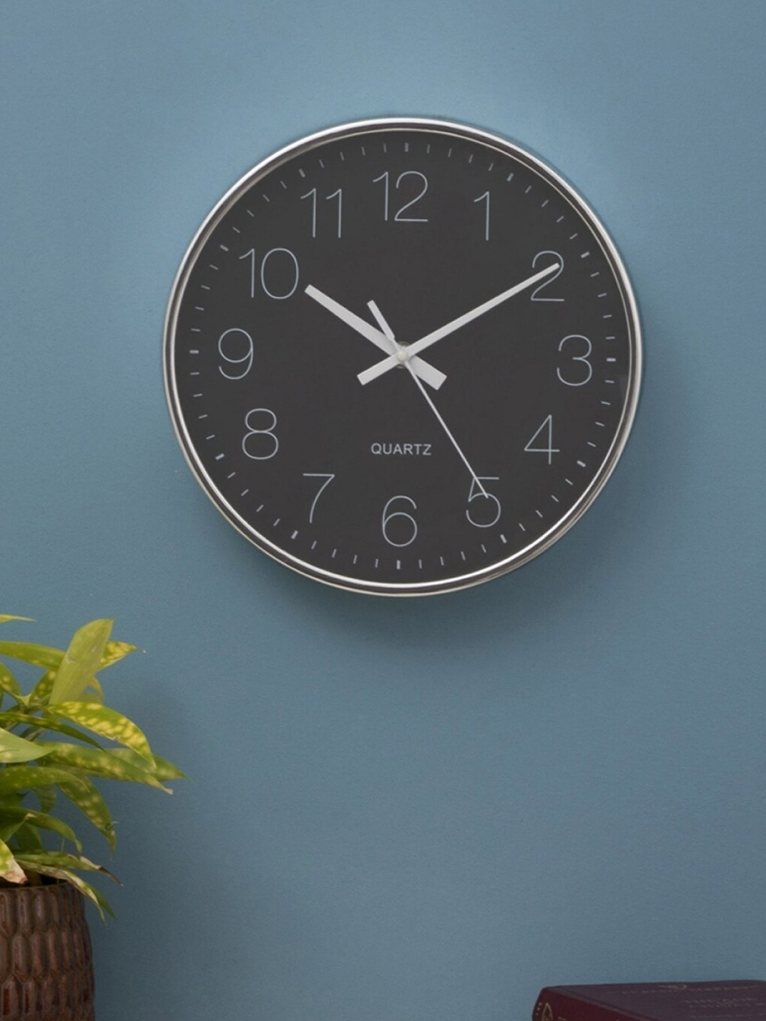 Home Centre Silver   Black Traditional 25 cm Wall Clock
