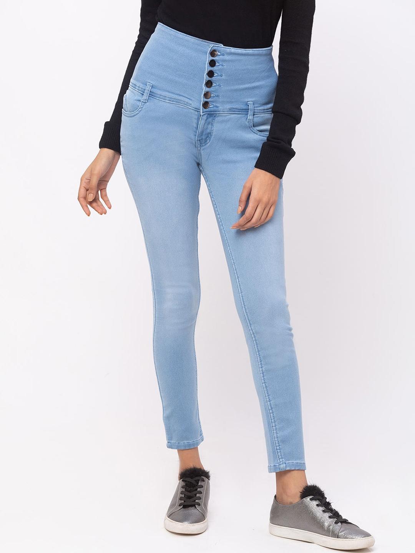 ZOLA Women Turquoise Blue Slim Fit Light Fade Jeans