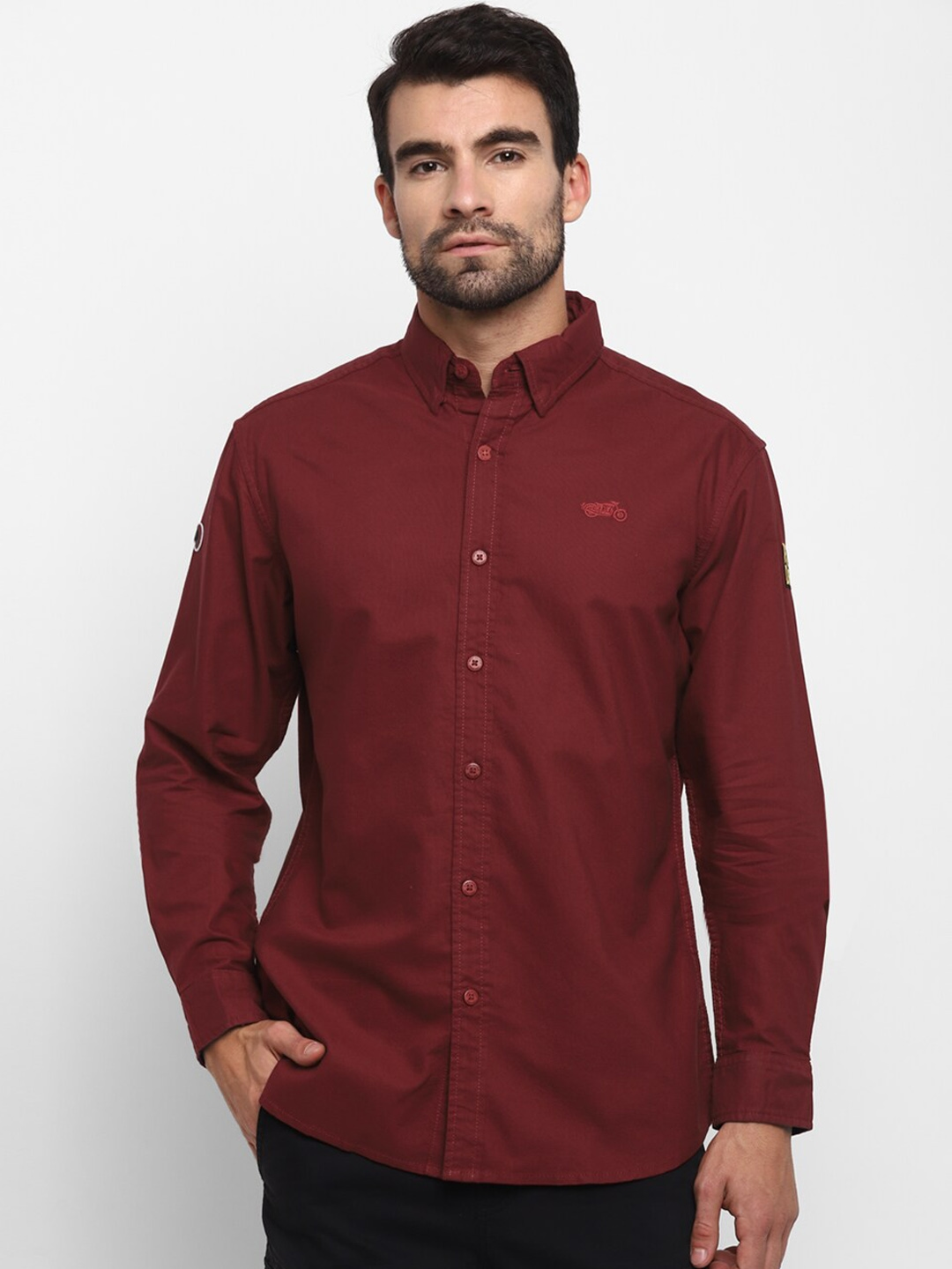 Royal Enfield Men Red Solid Casual Shirt