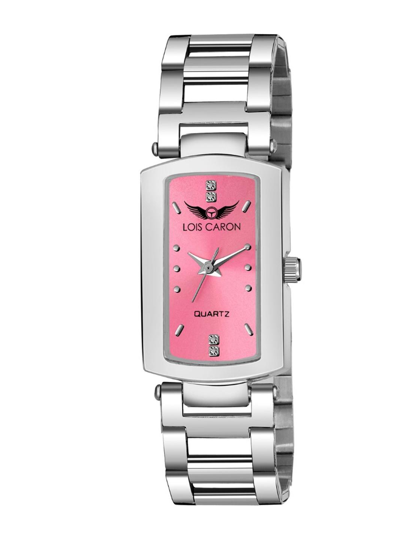 LOIS CARON Women Pink Dial   Silver Toned Bracelet Style Straps Analogue Watch MLC 4679