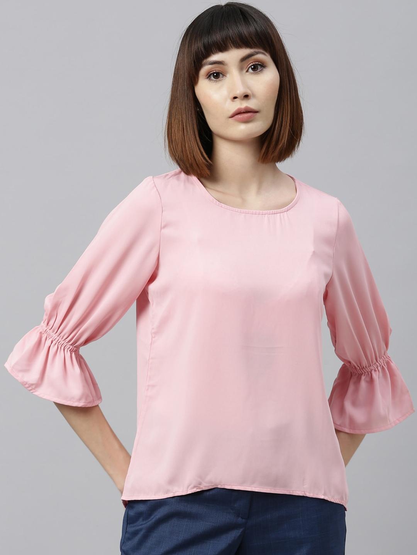 Park Avenue Woman Pink Bell Sleeve Regular Top