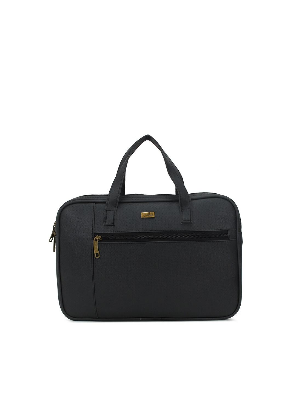yelloe Black Textured 16 Inch PU Laptop Bag