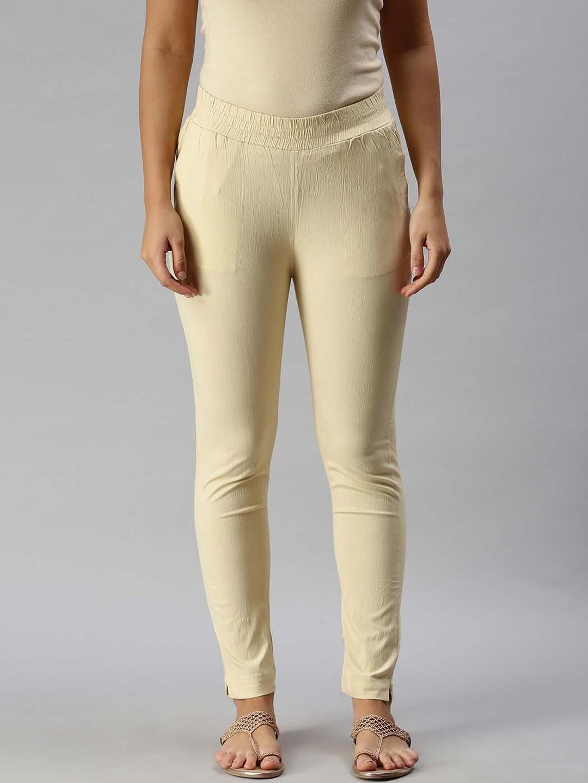 Soch Women Beige Solid Crepe Regular Trousers