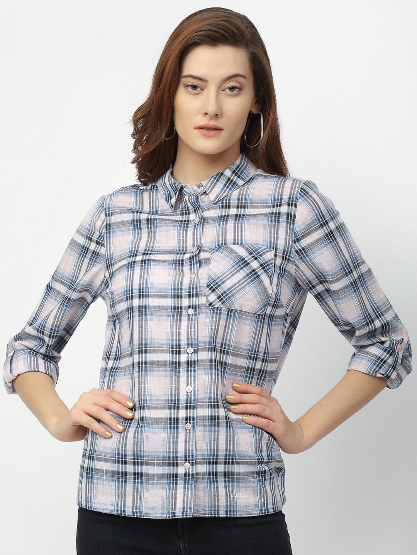 Rigo Women Blue   White Checked Casual Shirt
