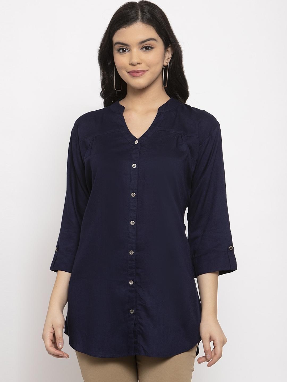 Baani Creations Women Navy Blue Mandarin Collar Casual Shirt