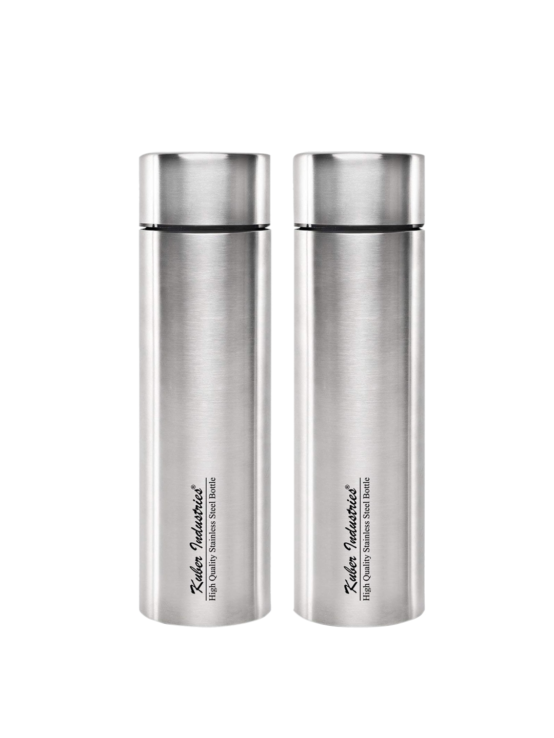 Kuber Industries Set Of 2 Silver Toned Solid Stainless Steel Water Bottle 1000 ML