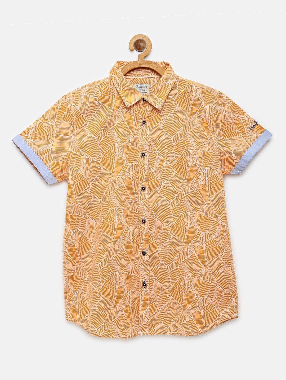 Pepe Jeans Boys Orange Floral Print Pure Cotton Casual Shirt