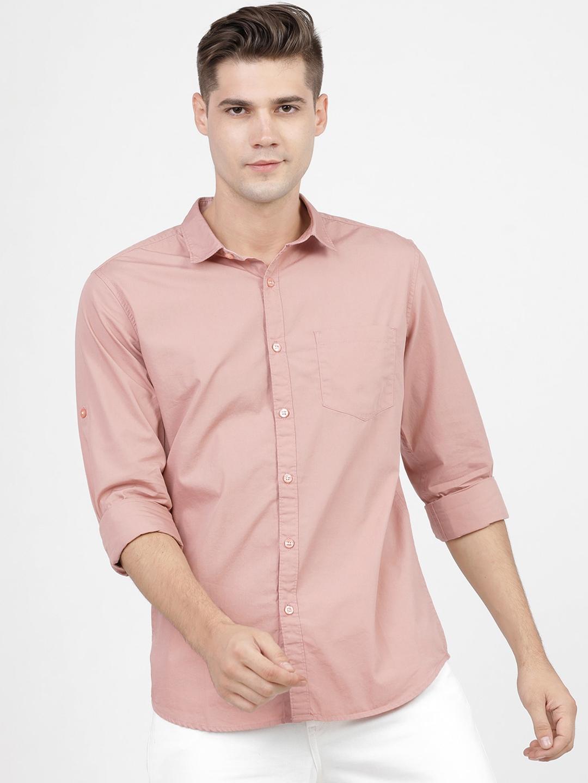 HIGHLANDER Men Pink Slim Fit Casual Shirt