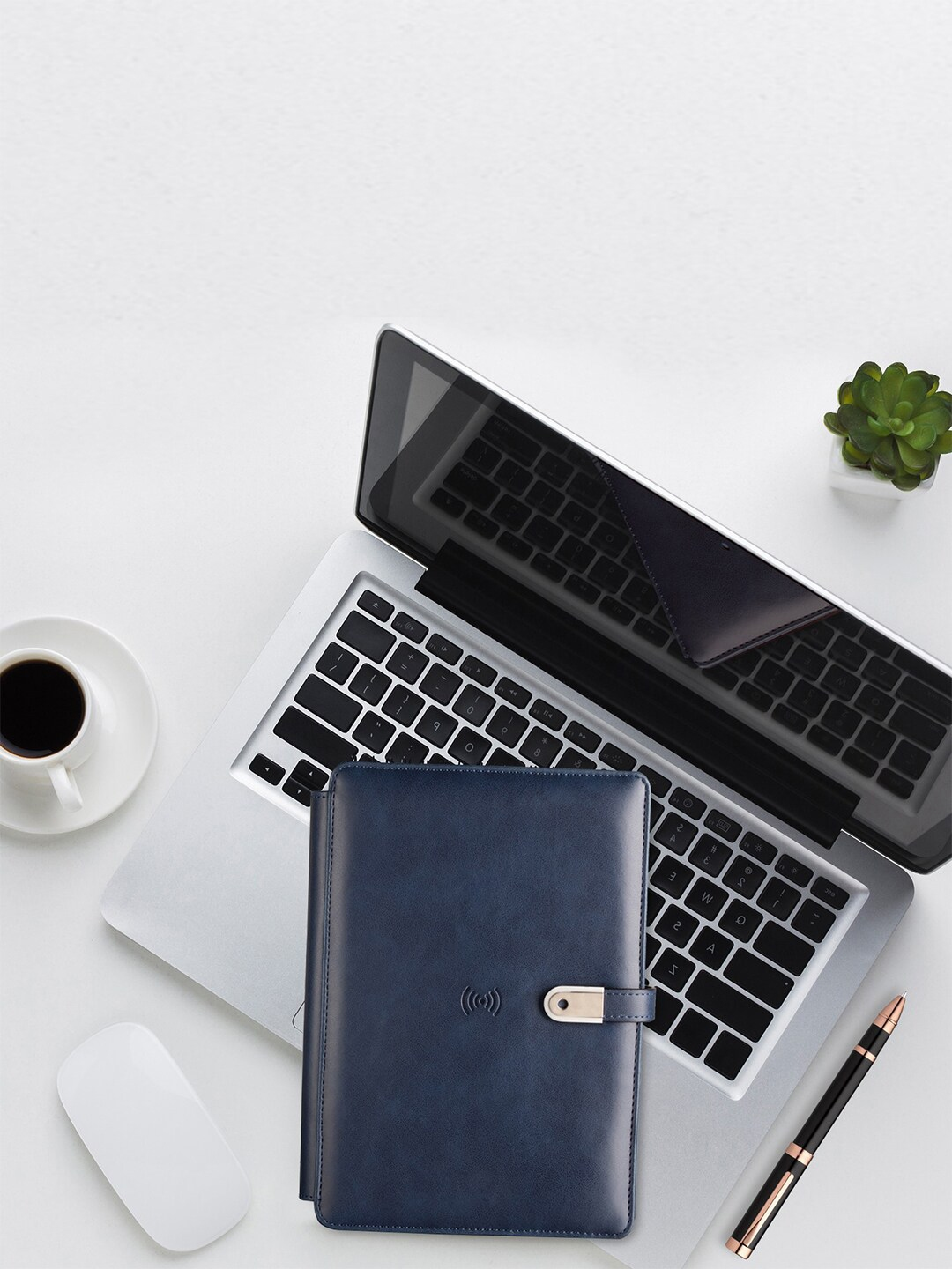 Pennline Blue Solid Notebook wit 16  GB Flash Drive