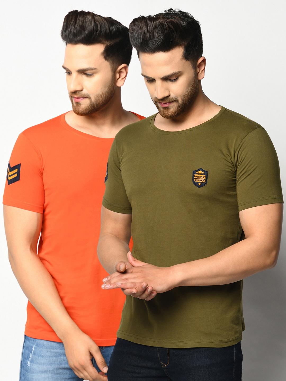 ELEGANCE Men Orange   Green Pack of 2 T shirts