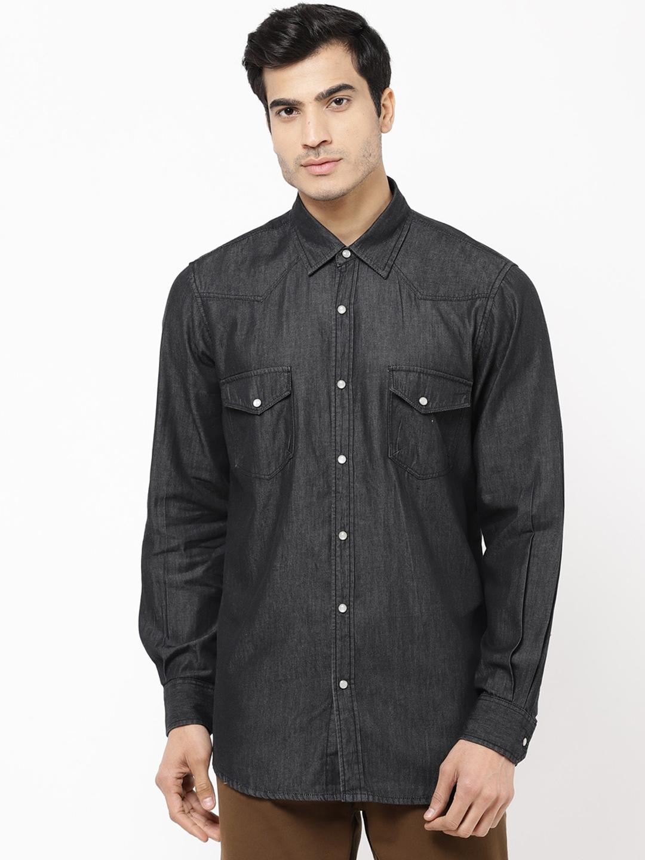 STROP Men Black Solid Denim Casual Shirt