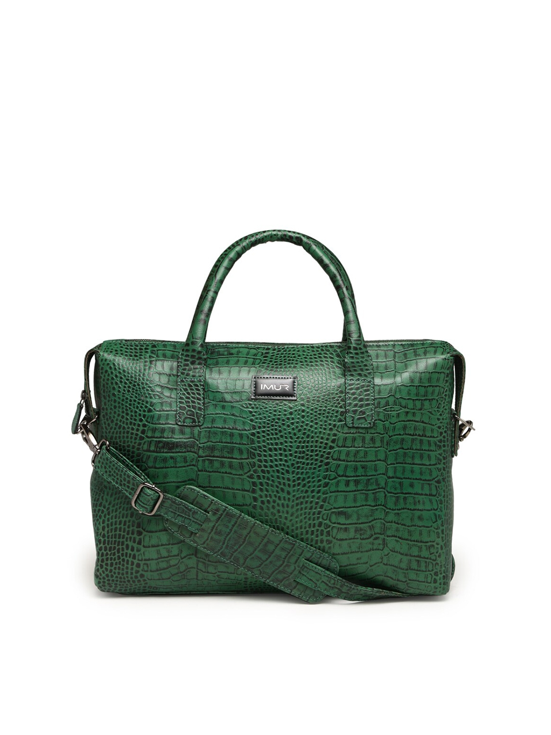 IMUR Unisex Green Textured Leather 15 inch Laptop Bag