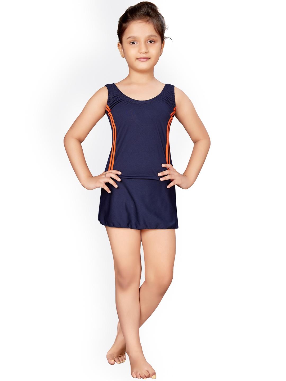 Aarika Girls Navy Blue Solid Swimsuit Set