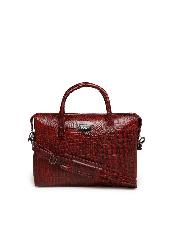 IMUR Unisex Maroon Textured Leather 15 inch Laptop Bag