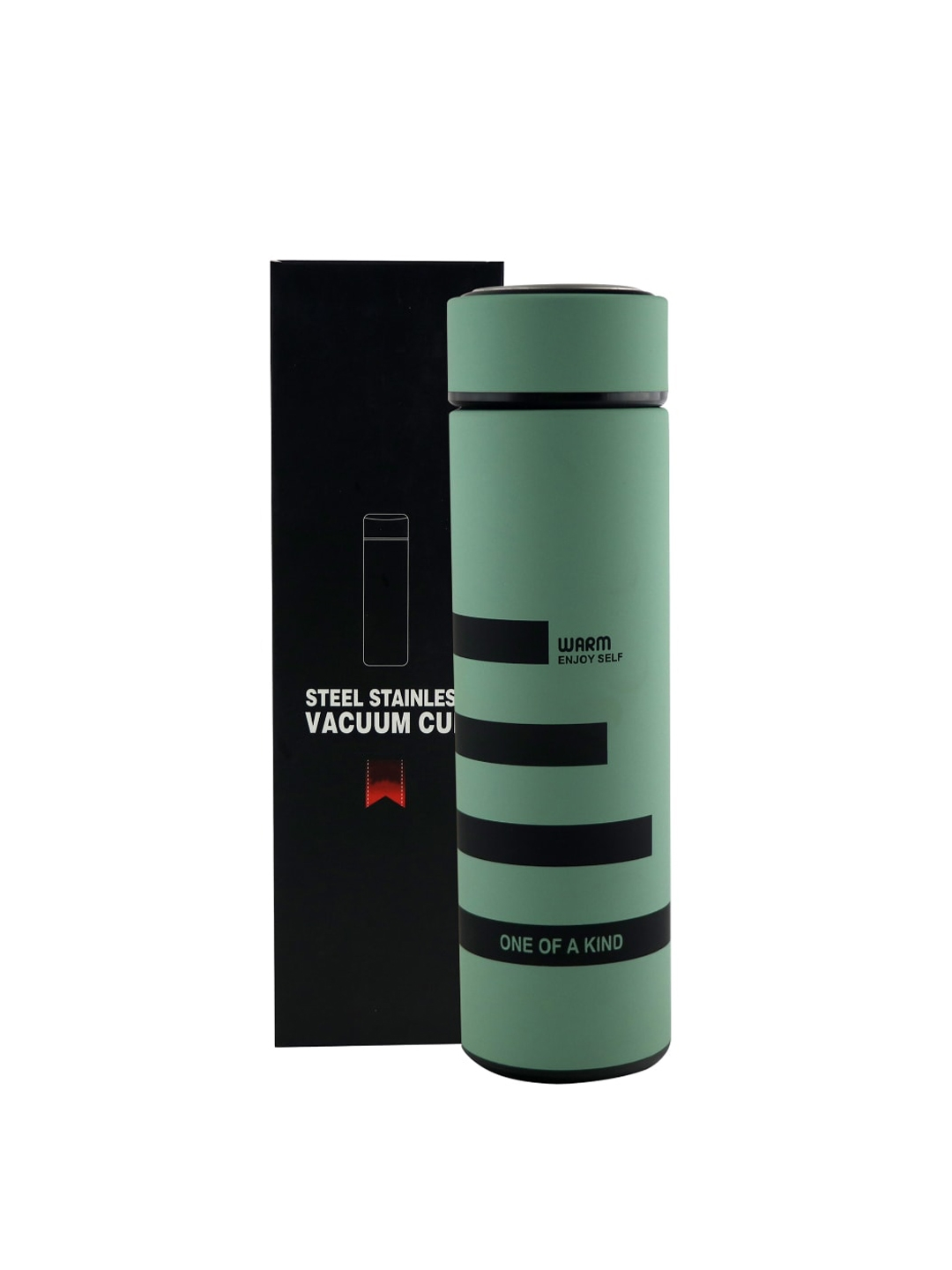 iSWEVEN Green   Black Printed Stainless Steel Water Bottle 500 ML