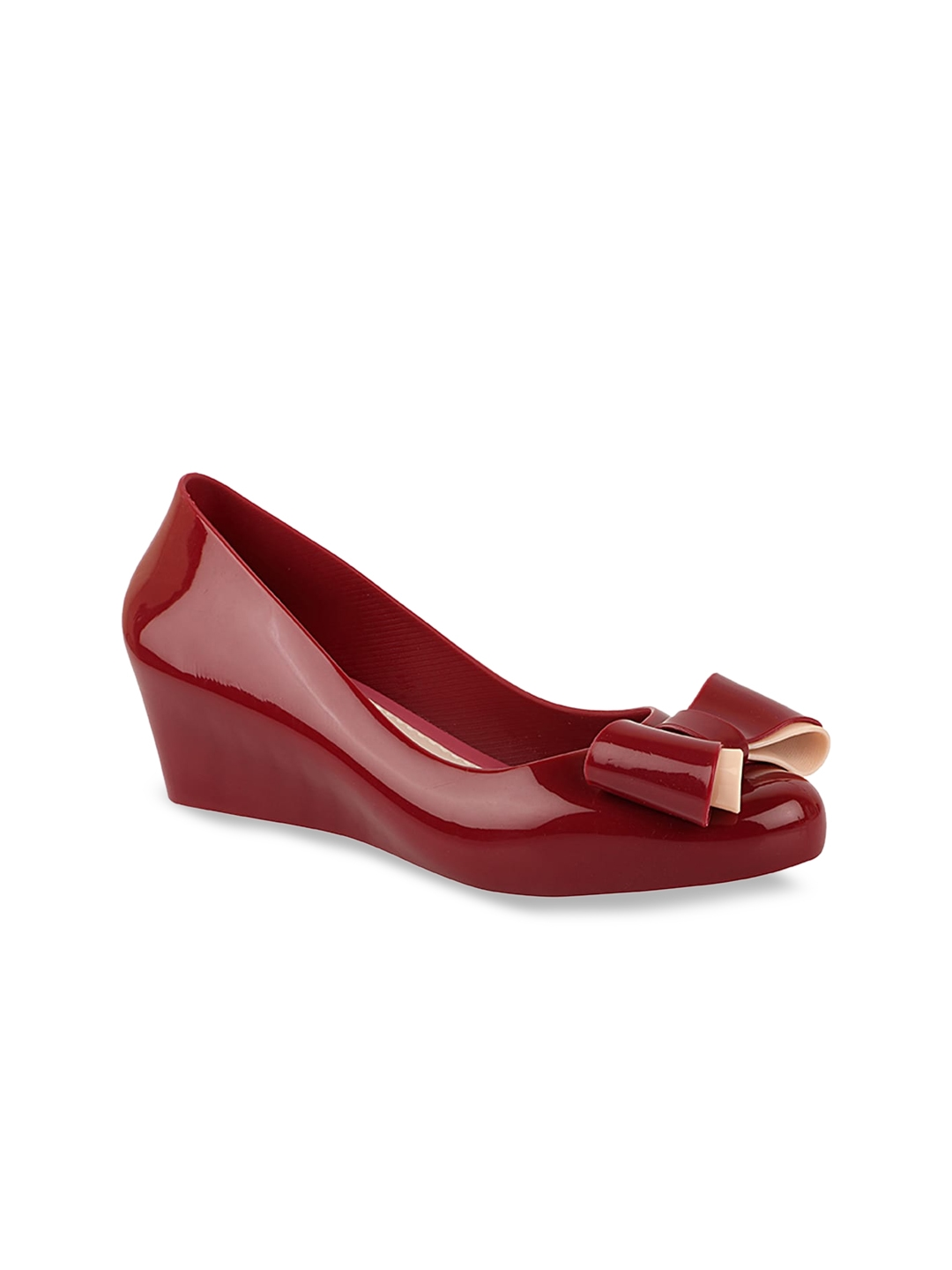 Shoetopia Red Wedge Pumps with Bows