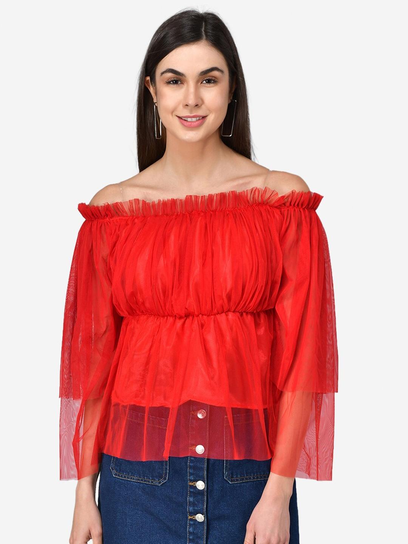 Darzi Red Off Shoulder Bell Sleeve Net Bardot Top
