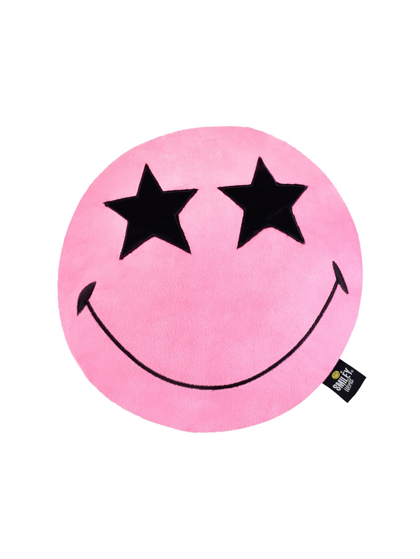 Smiley World Kids Pink   Black Star Eyes Round Cushion