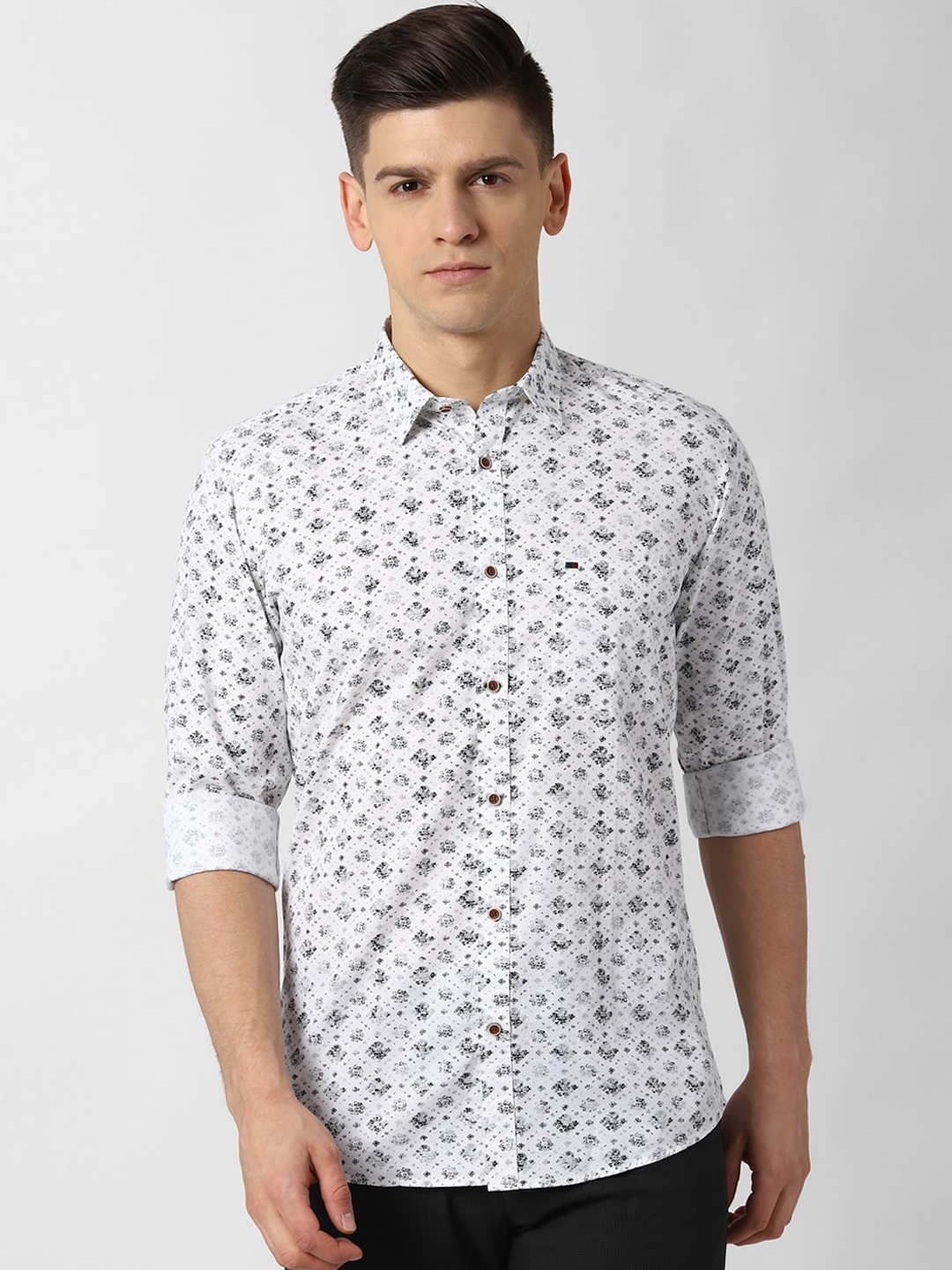 Peter England Casuals Men White Printed Casual Shirt