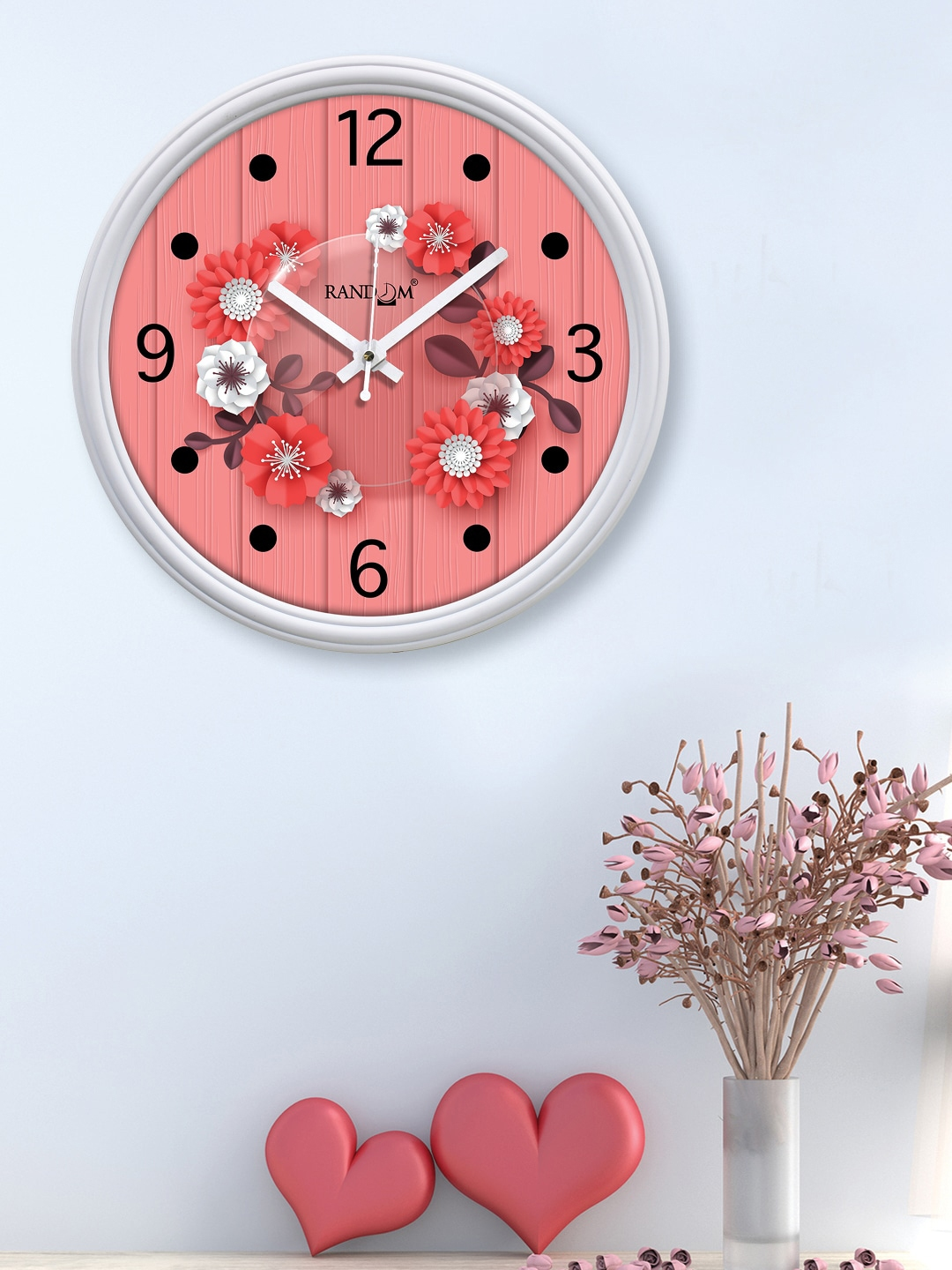 RANDOM White   Pink Printed Contemporary Wall Clock 12 inches