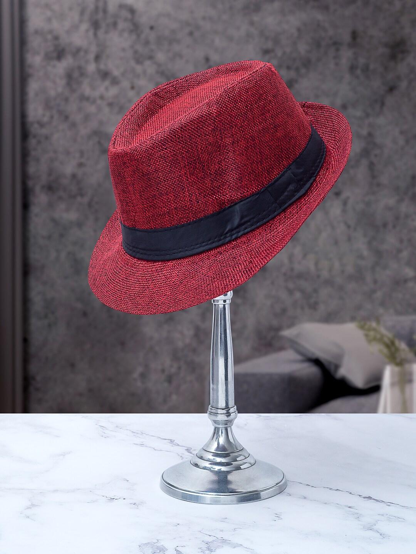 Golden Peacock Men Red   Black Woven Design Tear Drop Shaped Fedora Hat