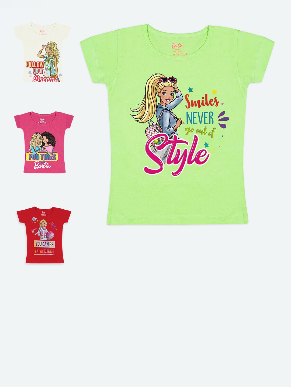 Barbie Girls Pack of 4 Barbie Printed T shirt