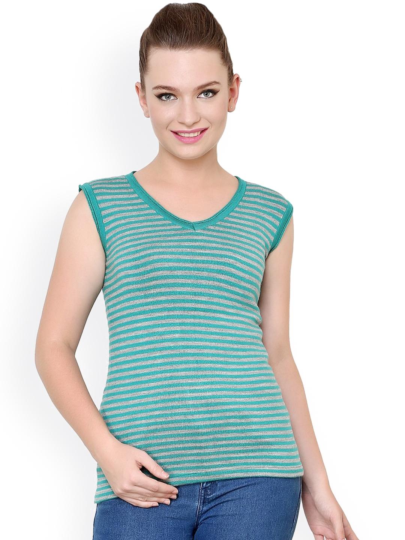 f5d1e9ee19 Buy Renka Green Striped Sweater - Sweaters for Women 1024435
