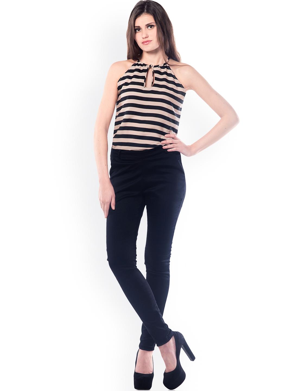 372dd27c1bf Buy Miss Chase Black   Beige Striped Jumpsuit - Jumpsuit for Women ...