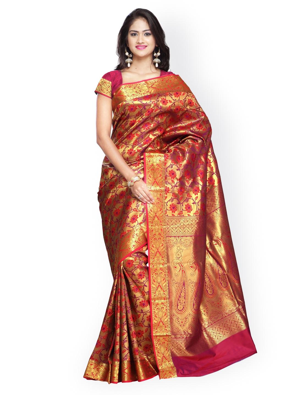 eb819183b3cb7 Varkala Silk Sarees Red   Gold-Toned Brocade   Art Silk Traditional Saree